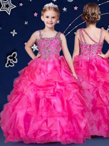 Hot Pink Ball Gowns Asymmetric Sleeveless Organza Floor Length Zipper Beading and Ruffles High School Pageant Dress
