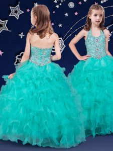 Turquoise Ball Gowns Organza Halter Top Sleeveless Beading and Ruffles Floor Length Zipper Pageant Dress for Girls