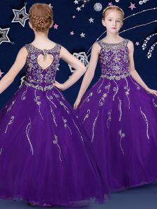 High Class Ball Gowns Pageant Dress for Teens Purple Scoop Organza Sleeveless Floor Length Lace Up