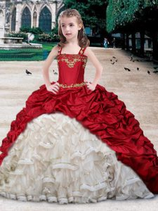 Beautiful Straps Floor Length White and Wine Red Kids Pageant Dress Organza and Taffeta Sleeveless Beading and Appliques and Ruffles and Pick Ups