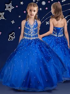 Halter Top Royal Blue Ball Gowns Beading Pageant Dress for Girls Lace Up Organza Sleeveless Floor Length