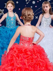 High Quality Halter Top Sleeveless Lace Up Pageant Dress for Girls White and Coral Red and Blue Organza