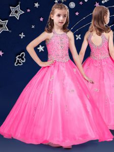 Fantastic Halter Top Floor Length Zipper Pageant Dress Hot Pink for Quinceanera and Wedding Party with Beading