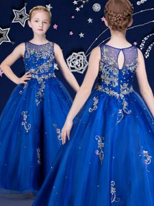 Royal Blue Scoop Neckline Beading and Appliques Pageant Dresses Sleeveless Zipper
