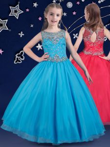Latest Scoop Baby Blue Sleeveless Floor Length Beading Zipper Pageant Dress