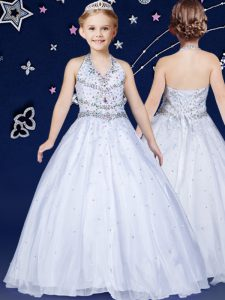 Unique Halter Top White Lace Up Pageant Dress for Girls Beading Sleeveless Floor Length