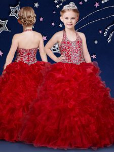 Top Selling Wine Red Halter Top Neckline Beading and Ruffles Pageant Dress Sleeveless Zipper