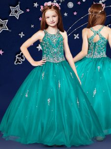 Teal Scoop Neckline Beading Pageant Dress Wholesale Sleeveless Zipper