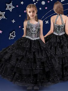 Halter Top Sleeveless Beading and Ruffled Layers Zipper Pageant Dresses