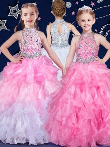 White and Pink And White Zipper Halter Top Beading and Ruffles Winning Pageant Gowns Organza Sleeveless