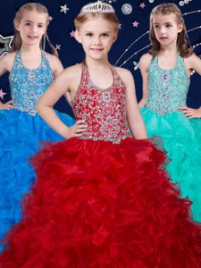 Wine Red and Baby Blue and Turquoise Ball Gowns Halter Top Sleeveless Organza Floor Length Zipper Beading and Ruffles Pageant Dresses