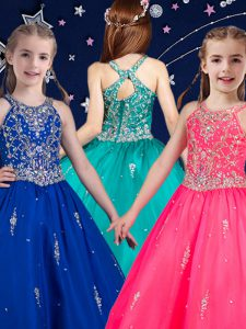Scoop Hot Pink and Royal Blue Organza Zipper Pageant Dresses Sleeveless Floor Length Beading