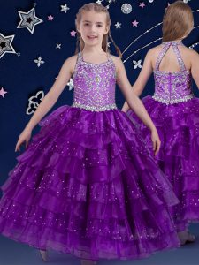 Halter Top Floor Length Eggplant Purple Glitz Pageant Dress Organza Sleeveless Beading and Ruffled Layers