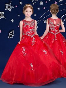 Scoop Sleeveless Organza Floor Length Zipper Custom Made Pageant Dress in Red with Beading and Appliques
