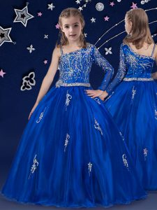 Royal Blue Ball Gowns Beading Pageant Dress Zipper Organza Sleeveless Floor Length