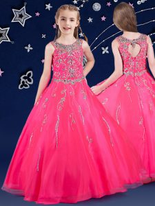 Hot Sale Scoop Floor Length Zipper Glitz Pageant Dress Hot Pink for Quinceanera and Wedding Party with Beading