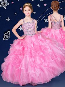 Sleeveless Beading and Ruffles Zipper Winning Pageant Gowns