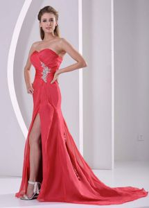 Red Sweetheart Lace-up Glitz Pageant Dresses with High Slit in Waltham