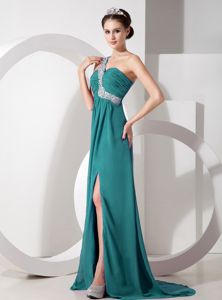 Turquoise Empire One Shoulder Beaded and Ruched Pageant Girl Dresses
