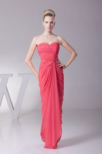 New Coral Sweetheart Red Chiffon Ruched Pageant Dresses in Honolulu