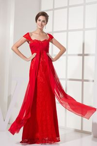 Square Red Ruched Lace Empire Pageant Dresses for Miss World in Norway