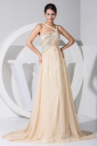 Dressy Champagne Asymmetrical Beaded Chiffon Pageant Dresses for Girls