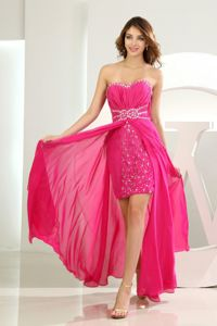 Hot Pink Sweetheart Beaded Chiffon Youth Pageant Dresses in Norway