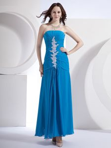 Charming Blue Ankle-length Lace-up Chiffon Glitz Pageant Dresses