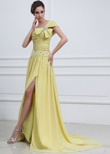 Dressy Yellow Green Beaded High Slit Pageant Dresses for Miss America