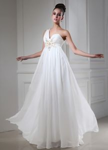 One Shoulder White Floor-length Chiffon Pageant Dresses for Miss USA
