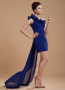 Royal Blue One Shoulder Pageant Dresses for Girls with Watteau Train