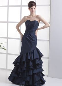 Mermaid Navy Blue Sweetheart Long Glitz Pageant Dresses in Concord