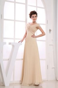 V-neck Champagne Ruched Chiffon Beauty Pageant Dresses in Moscow