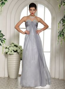 Grey Beading Decorated Bust and Ruched Youth Pageant Dresses with Floor-length