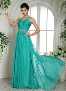 Ruched Turquoise One Shoulder Interview Pageant Suits with Ruches and Beading In Ohio