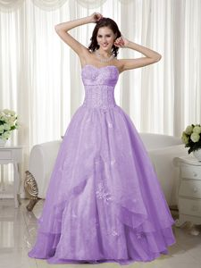 Beaded Lavender A-line Sweetheart Floor-length Interview Pageant Suits with Ruffles