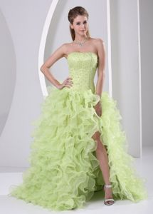 High Slit Beaded and Ruffled Yellow Green Brush Train Pageant Dresses For Miss USA