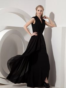 Black Column V-neck Floor-length Natural Beauty Pageants Dress in Manchester?