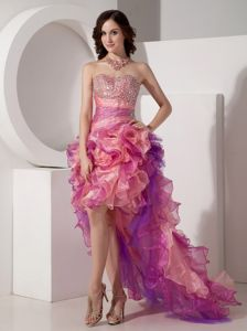 Column Sweetheart High-low Beaded Pageant Dresses For Miss World with Ruffled Layers