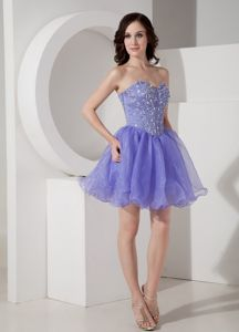 Mini-length Lilac Sweetheart Natural Beauty Pageants Dress with Beading in 2013