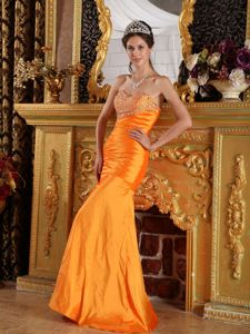 Mermaid Sweetheart Floor-length Beaded Orange Pageant Dress Patterns in Nottingham