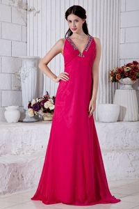 Hot Pink Empire V-neck Brush Train Natural Beauty Pageants Dress with Beading in 2013