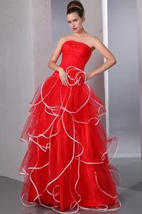 Floor-length Red Strapless Ruffled and Ruched Natural Beauty Pageants Dress in 2013
