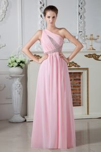 2013 Beaded Baby Pink One Shoulder Floor-length Pageant Dresses For Miss America