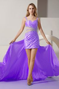 Detachable Lavender Straps Column Mini-length Interview Pageant Suits with Cutouts