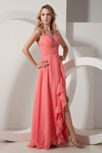 Empire V-neck Floor-length Slit Pageant Dresses For Girls with Beading and Ruches