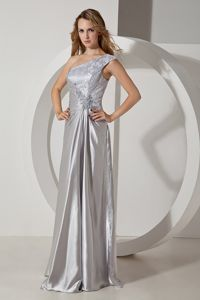 Floor-length Silver Column One Shoulder Dresses For Pageants In Nj with Beading