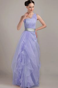 2013 ne Shoulder Floor-length Ruffled 2013 Pageant Dress Patterns with Grey Belt