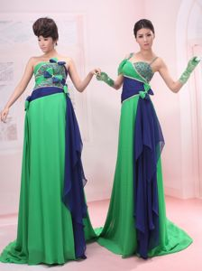 Bowknot Empire Strapless and Straps Green Sweep Pageant Dress Patterns in London