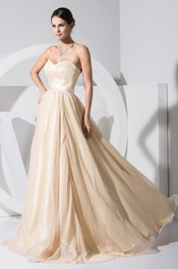 Sweetheart Champagne Cool Back Interview Pageant Dresses with Satin Sash